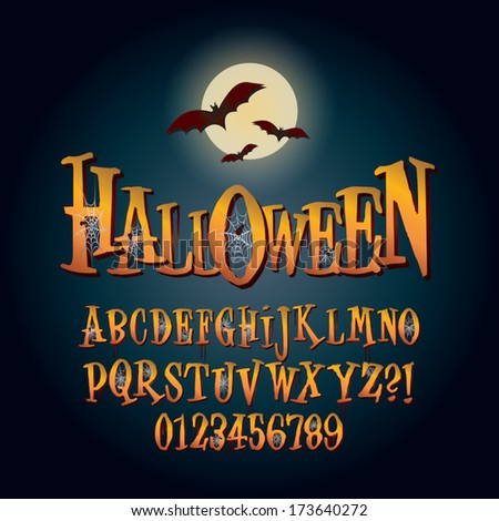 Three Dimensional Halloween Alphabet and Digit Vector