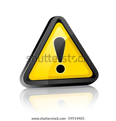 three-dimensional Hazard warning attention sign with exclamation mark  on white background with reflection