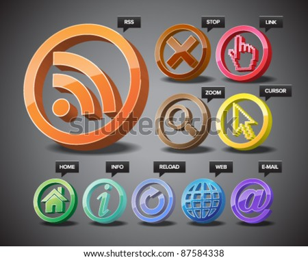 Three-dimensional icons of world wide web.
