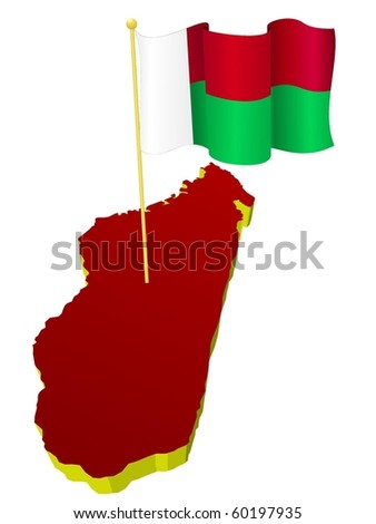 three-dimensional image map of Madagascar with the national flag