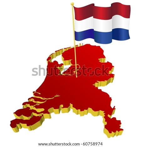 three-dimensional image map of Netherlands with the national flag