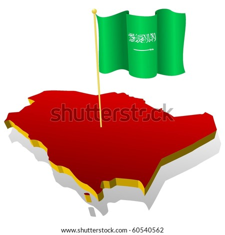 three-dimensional image map of Saudi Arabia with the national flag