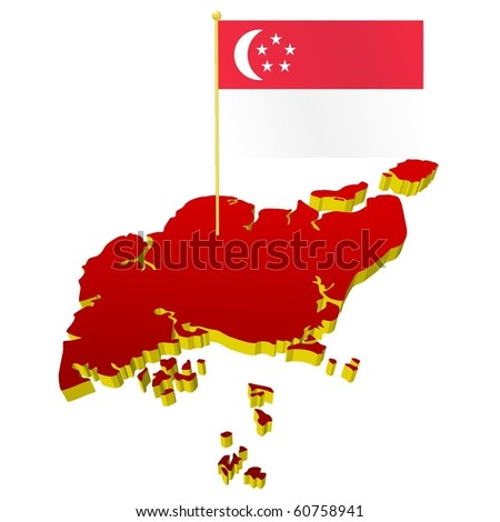 Singapore National Flag Picture on Three Dimensional Image Map Of Singapore With The National Flag Stock