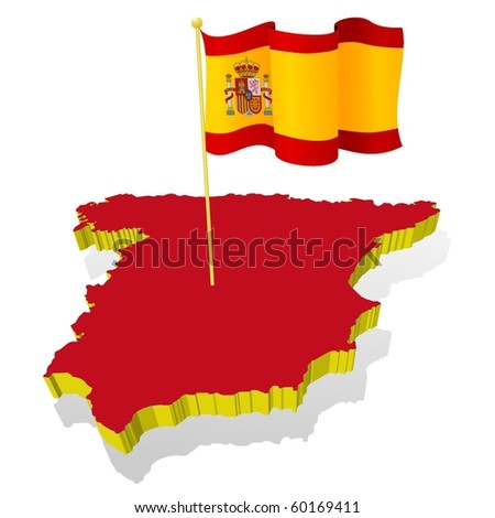 three-dimensional image map of Spain with the national flag