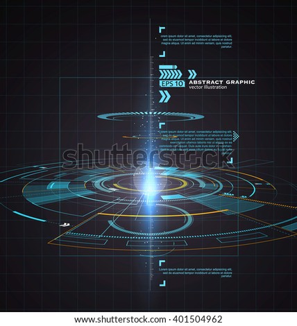 Three-dimensional interface technology, science fiction scene.