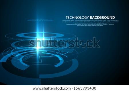 Three-dimensional interface technology, Technology sense vector background.