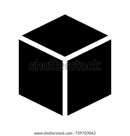 Three dimensional or 3D cube hexahedron flat vector icon for apps and websites