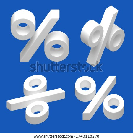 Three-dimensional percent sign. Set of Isometric 3d symbols. Statistics visualization. Buy at a discount. Save money. Pay a penalty. Interest rate.