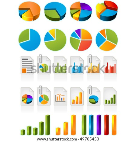 Three-dimensional pie charts and file icons