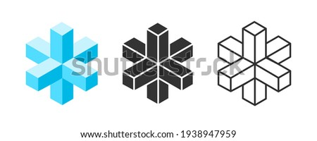 Three dimensional shape with line art. Abstract geometric object. Isolated on white background.Vector illustration.