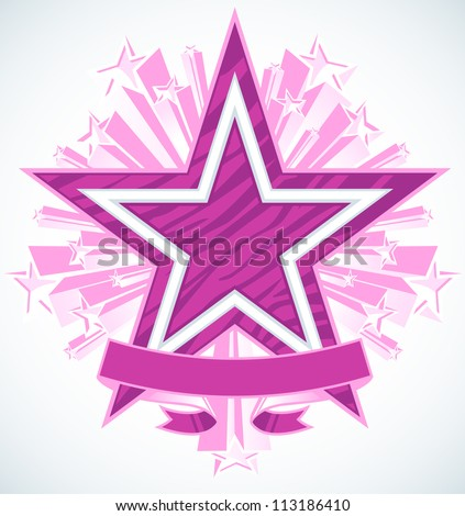 Three Dimensional Shooting Stars Vector With Blank Banner. Star in the center has a highly polished chrome double outline with zebra stripe pattern fill.