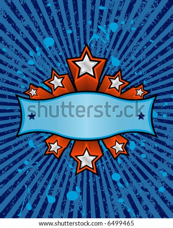 three dimensional silver stars set against a blue striped grunge background. just add your own text.