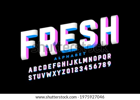 Three-dimensional style font design, 3d alphabet letters and numbers vector illustration Stockfoto ©