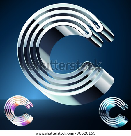 Three-dimensional ultra-modern alphabet from chrome or metal letters. Character c