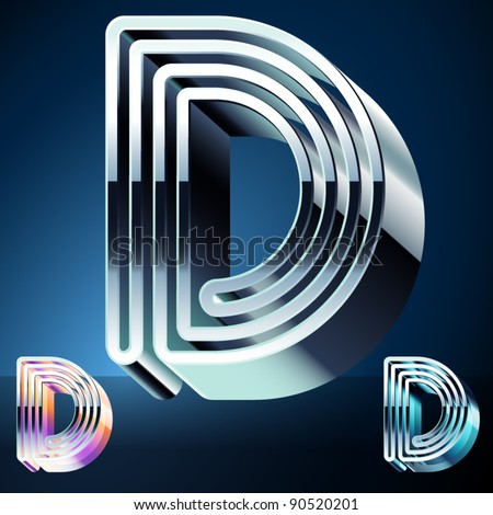 Three-dimensional ultra-modern alphabet from chrome or metal letters. Character d