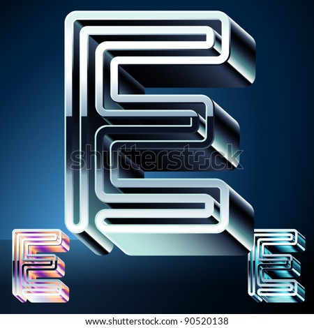 Three-dimensional ultra-modern alphabet from chrome or metal letters. Character e
