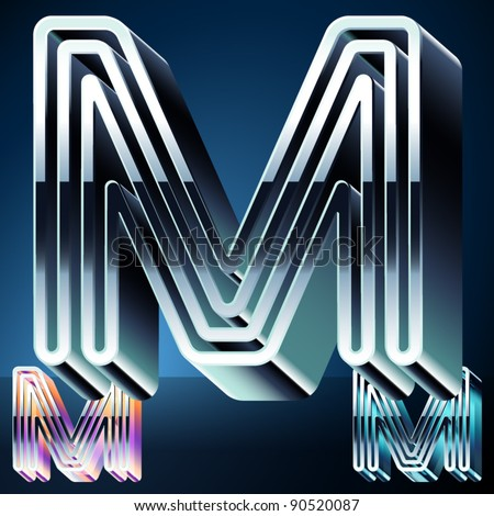Three-dimensional ultra-modern alphabet from chrome or metal letters. Character m