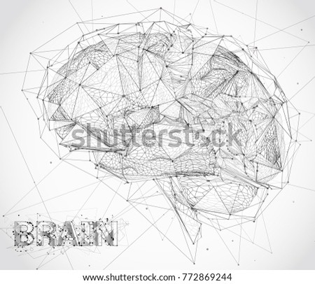 three-dimensional vector cyber brain. neural network mega-data processing, template interface design on a white background.