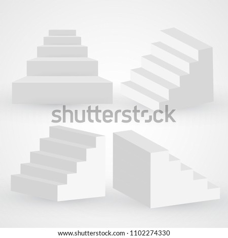 Three dimensional white stairs set, paper style vector steps, fame, celebrity symbol. Podium icon, success, progress, winning  isolated on white. Climbing career stairways idea.