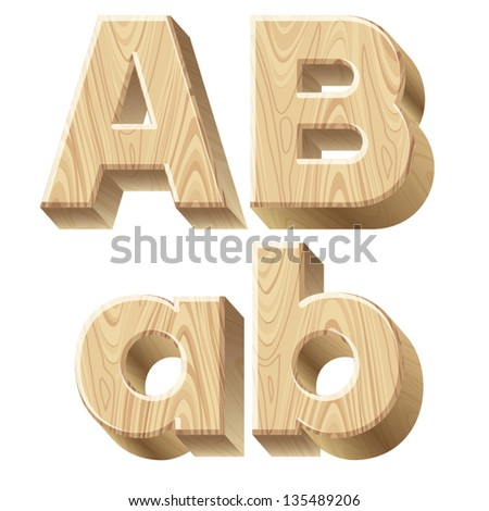 Three dimensional wooden alphabet vector illustration of for 3d wooden alphabet letters