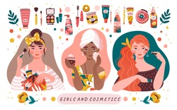 Three diverse beautiful girls applying makeup with a border of assorted cosmetics and toiletries in a panorama banner, colored vector illustration
