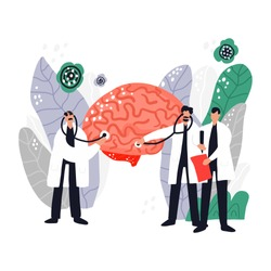 Three doctors treat brain. Medical illustration. Brain health check banner template