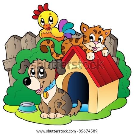 Three domestic animals - vector illustration.