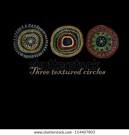 Three doodle circles background. - stock vector