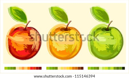 Three drawing apple different colours with green sheet - sketch