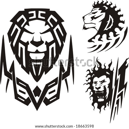 stock vector Three drawings of a lion Tribal predators