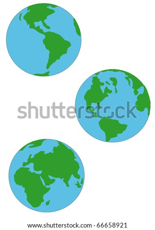 three earth globes