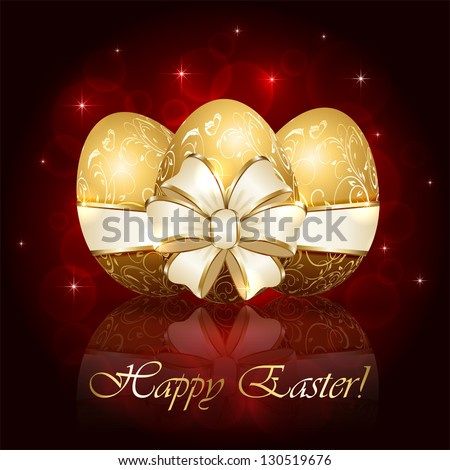 Three Easter eggs with decorative elements and ribbon, illustration.