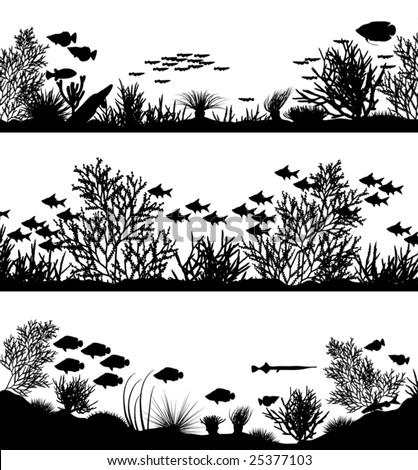three editable vector sea coral