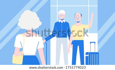 three elderly people with