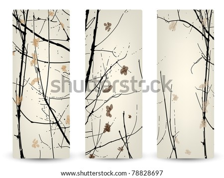 Three elegant banners with silhouette of forest