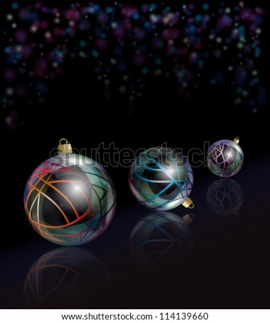 Three elegant glass Christmas baubles reflected on black background with bokeh effect. EPS10 vector format.
