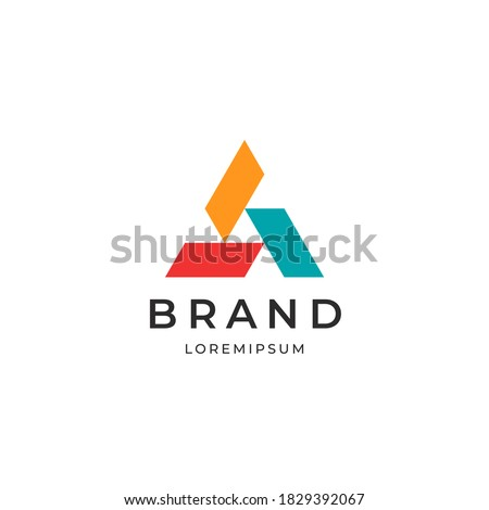 Three elements triangle logo. Abstract symbol business  logotype.