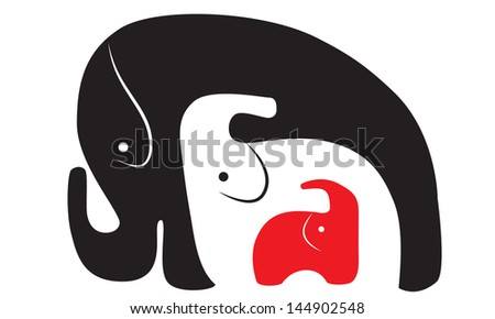 three elephants of different