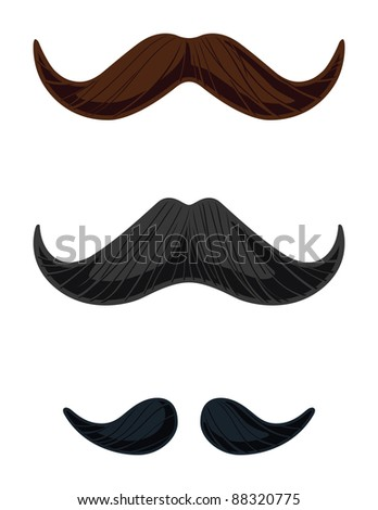 Three English Style Mustache Vectors