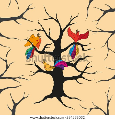 Three exotic birds on bare tree in forest as a metaphor of hope that helps in overcoming hardships