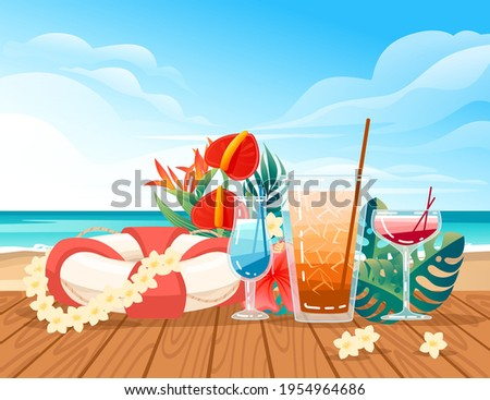 three exotic cocktails in
