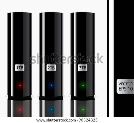 three external hdd. vector illustation