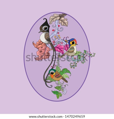 Three fantasy cute birds playing on branch with purple and pink backgruond.Digital vector image illustration for brand, logo,birds cartoon illustration,animals illustration, nature illustration.