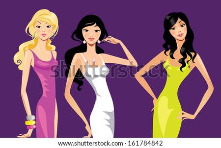 three fashion young women
