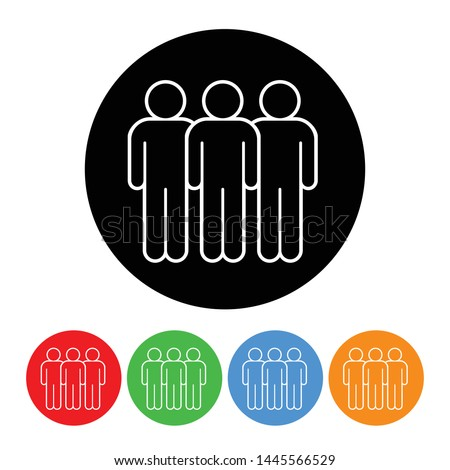 Three figures business icon figure symbol in an outlined circle style with four color variations vector illustration design element