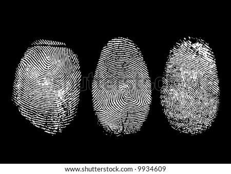 Three finger prints isolated on black (vector)