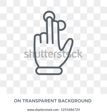 Three fingered hand gesture icon. Trendy flat vector Three fingered hand gesture icon on transparent background from Hands and guestures collection. High quality filled Three fingered hand gesture