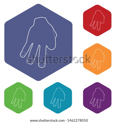 Three fingers icon. Outline illustration of three fingers vector icon for web
