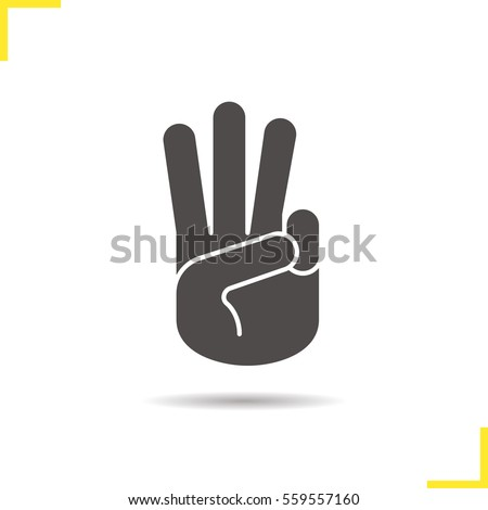 Three fingers up icon. Drop shadow silhouette symbol. Scout promise sign. Negative space. Vector isolated illustration