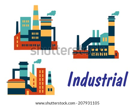Three flat industrial icons logo showing factories plants or refineries with smokestacks or chimneys with polluting smoke and the word Industrial isolated on white background
